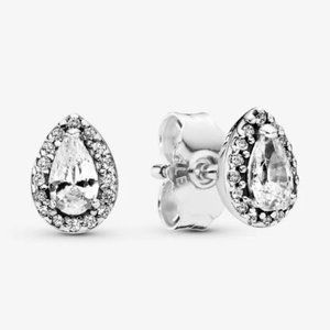 🔥Pandora🔥 Sparkling Teardrop Halo Stud Earrings